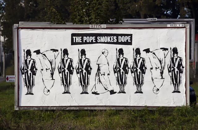 """""""The Pope Smokes Dope"""" Street Art By Peter Fuss In Gdynia, Poland. 2"""
