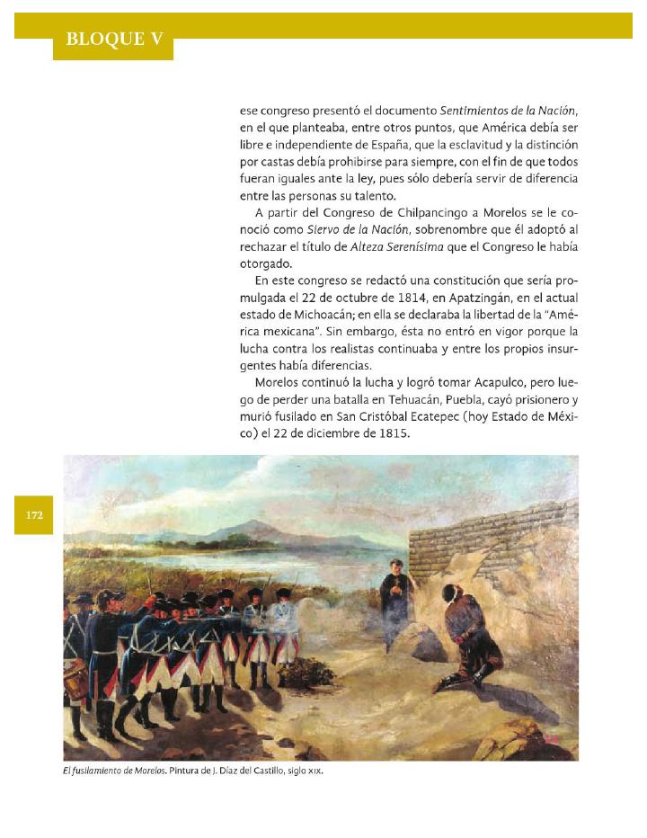 El pensamiento social y político de Morelos - Historia 4to Bloque 5 2014-2015