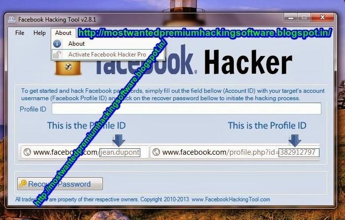 activation key for facebook hacker pro