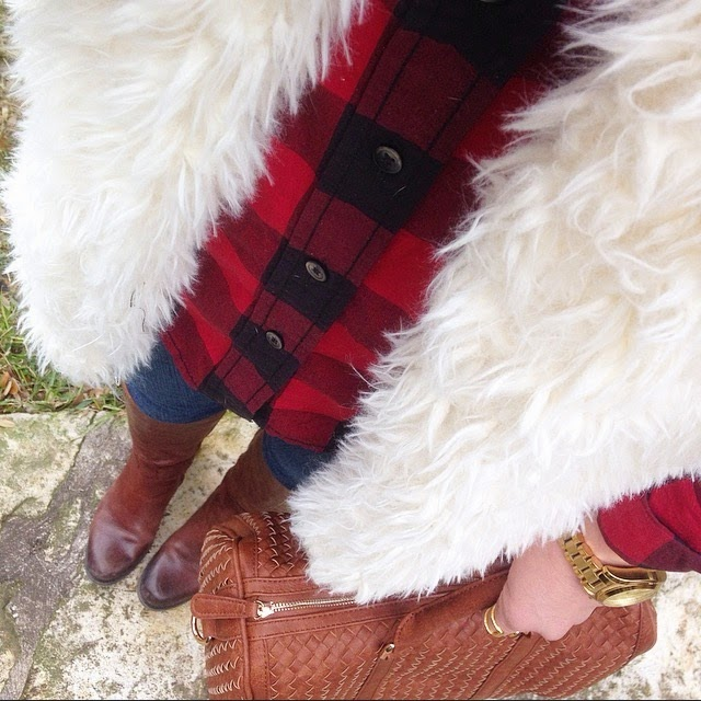 Buffalo Plaid & Ivory Shag Fur Vest