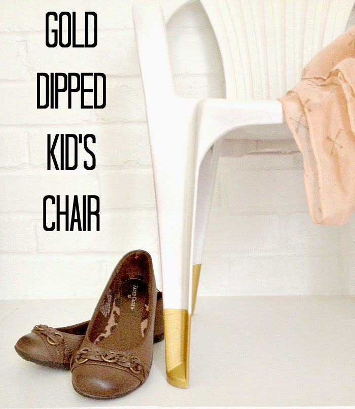 Leigh Anne from Houseologie remade this nearly-free mauve kids chair into this white and gold dipped outdoor chair.