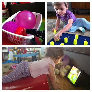 3 Photos: 1. textured balls; 2. High-contrast peg board. 3. toddler using wedge