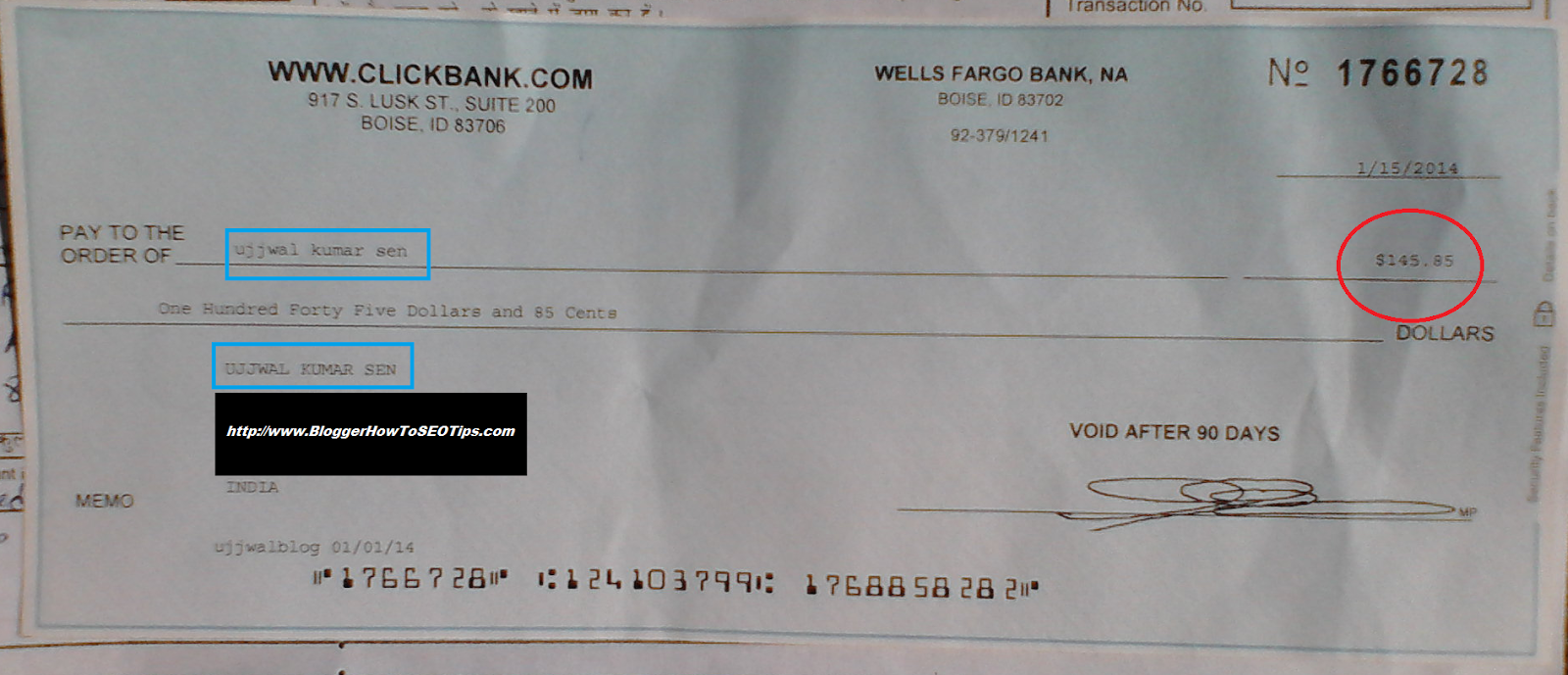 ClickBank Cheque India