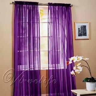 Purple bedroom ideas: Purple voile elegant curtains