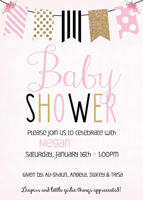 Baby Shower Invite- Pink black and gold