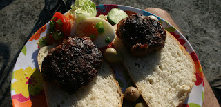 BBQ burgers and lovely salad