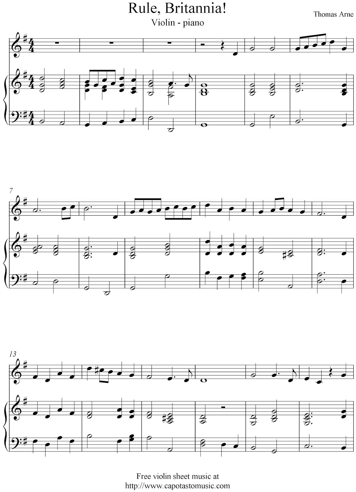 Free violin and piano sheet music, Rule, Britannia!