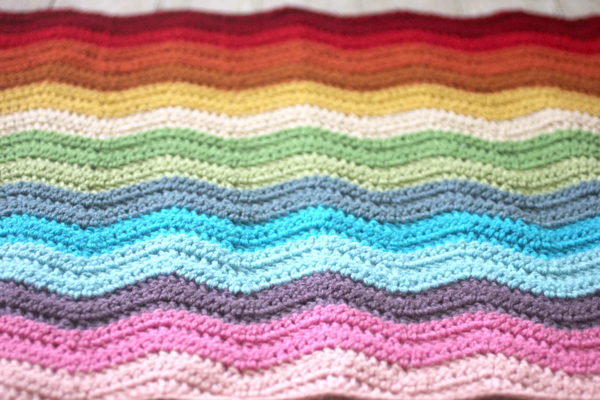 Easy Crochet Ripple Afghan Tutorial : Rainbow Ripple Crochet Blanket - Repeat Crafter Me