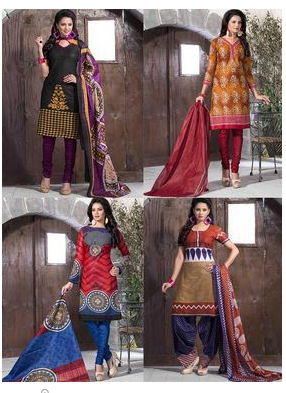 Buy Pack of 4 Priya Fashions Cotton Printed Dress Material from naptol at Rs 1699