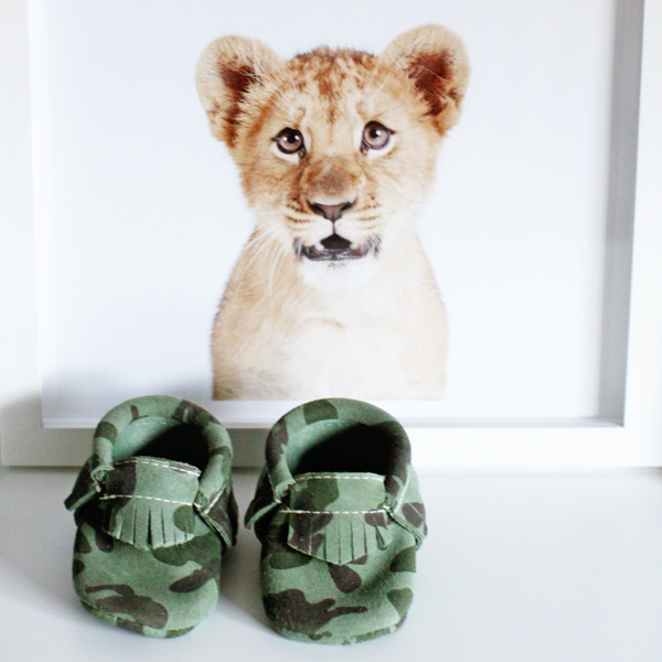 The Animal Print Shop lion cub nursery print & Freshly Picked camo mocs