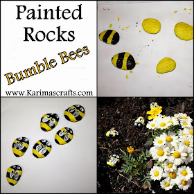 painted rocks bumble bee