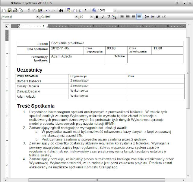 Linked Document - notatka ze spotkania