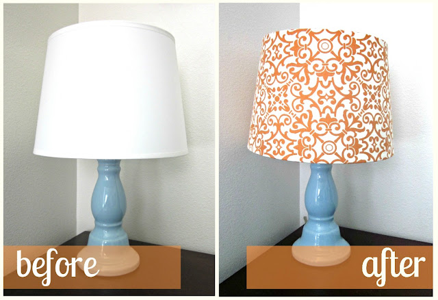 fabric lampshade recover tutorial