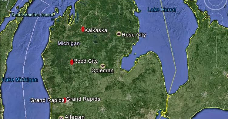 Coleman Michigan Map.Meteorite Maps And Impact Craters Worldwide Michigan Meteorites