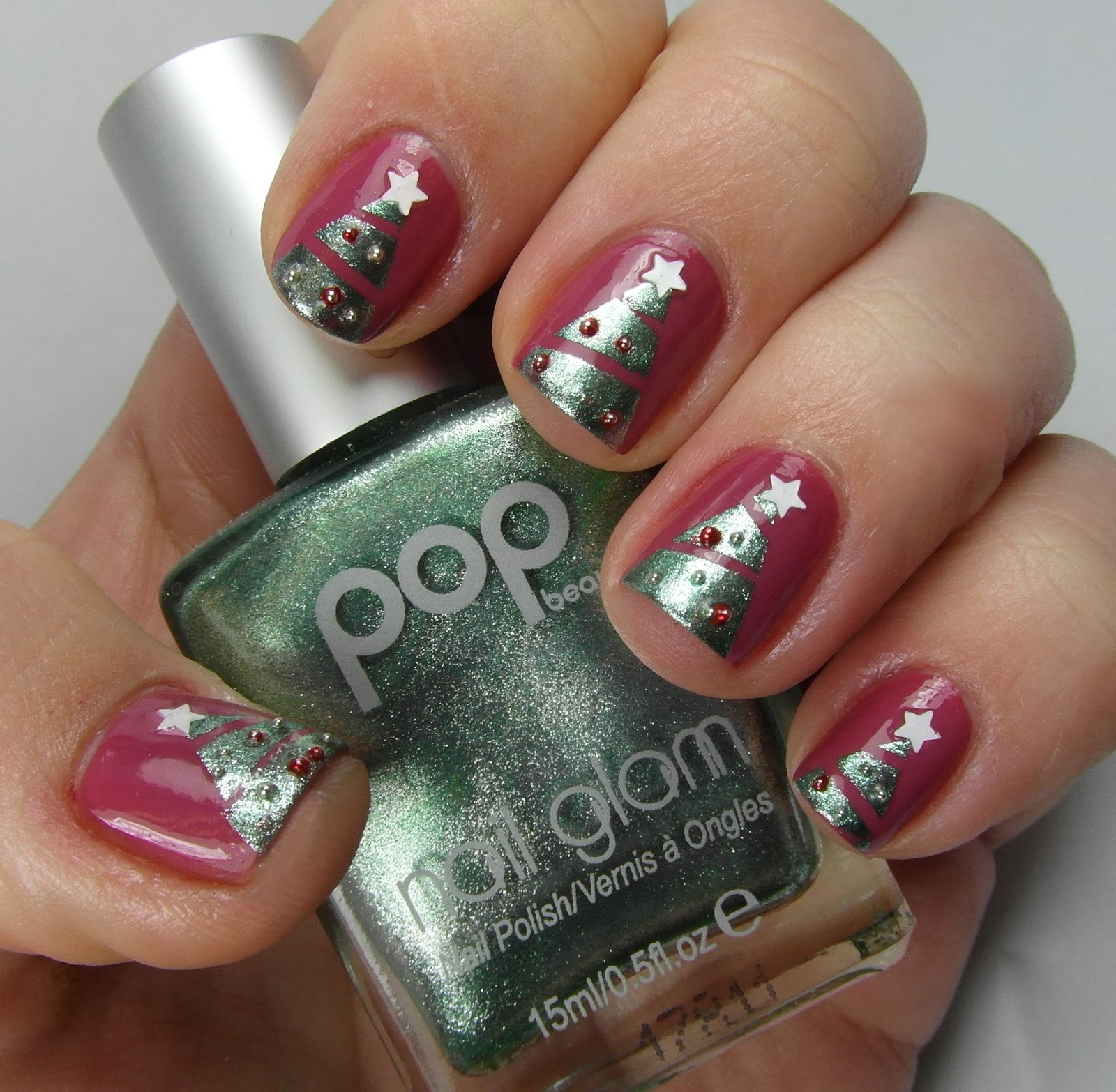 Hotpinkaurora Christmas Tree Nail Art Caviar Beads And Striping Tape