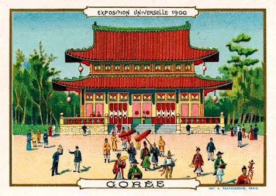 Exposition universelle de Paris 1900 - pavillon de la Corée - Chromo - Vue d'artiste