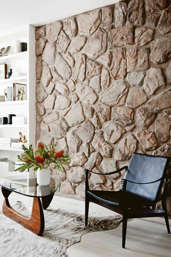 Steinwand Wohnzimmer Ideen