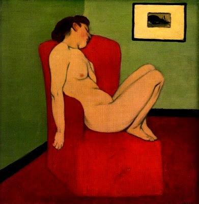 Dona nua asseguda a una cadira vermella (Félix Vallotton)