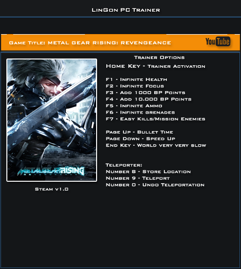 Metal Gear Rising Revengeance v1.0 Trainer +12 [LinGon]