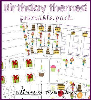 Birthday themed printable pack by Welcome to Mommyhood #preschoolactivities, #preschool, #montessori, #montessoriactivities, #freeprintables