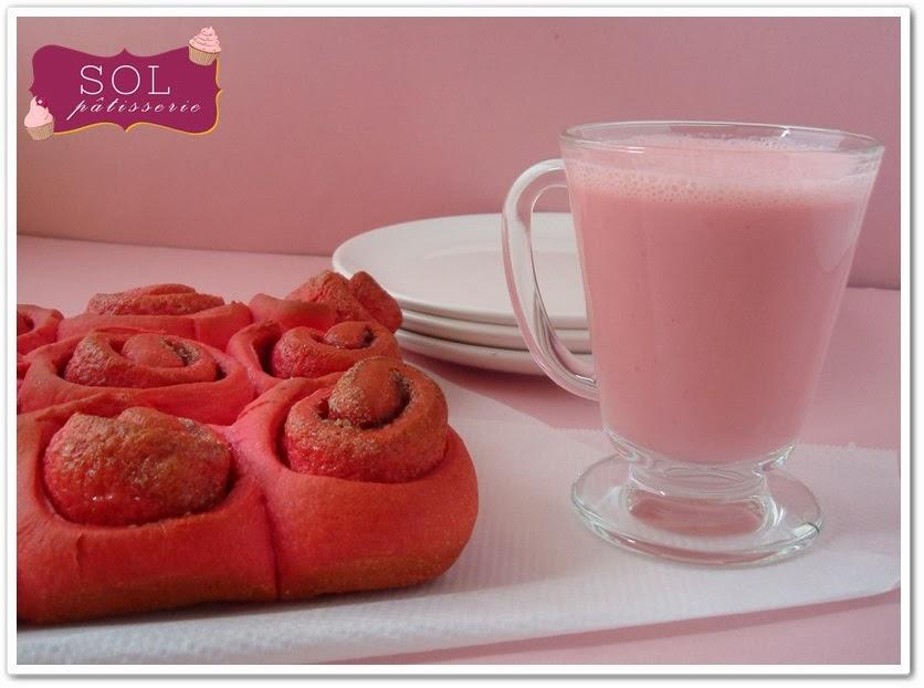 Cinnamon rolls roses pour la Saint Valentin - Cinnamon rolls rosas para o Saint Valentin