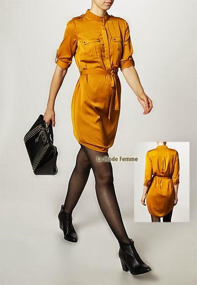 Robe chemise Mint&berry unie jaune manches trois quart