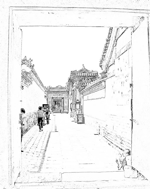 passage with chinese palace buildings