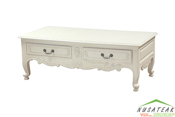 Carved 2 Drawer Coffee Table - Nusa Teak