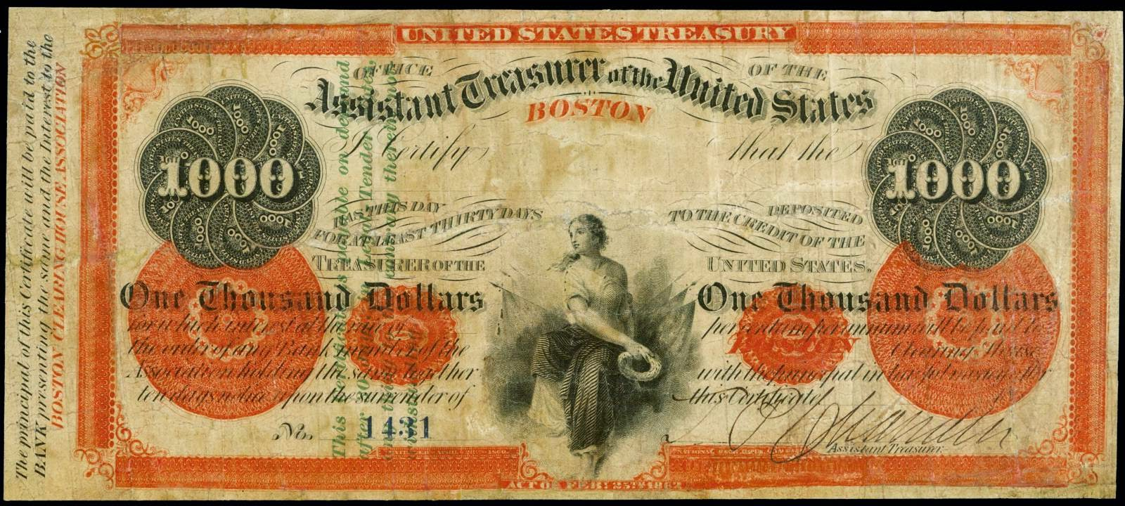 1862 1000 Dollar bill Boston Designated Depositary Certificate