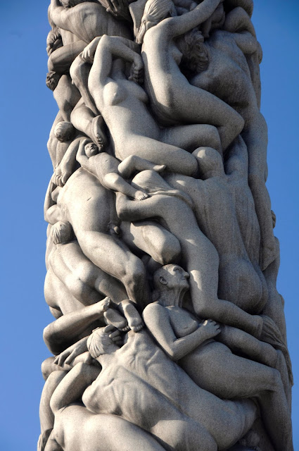 'The 'Monolith,' is a magnificent piece of granite that depicts 121 human figures deep in despair but yet filled with delight and hope. Photo: Nancy Bundt - Visitnorway.com/Vigeland-museet\BONO. Unauthorized use is prohibited.