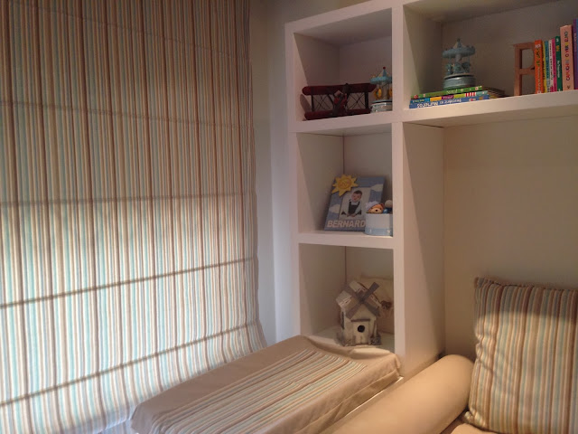 Blue and beige stripes boy's bedroom
