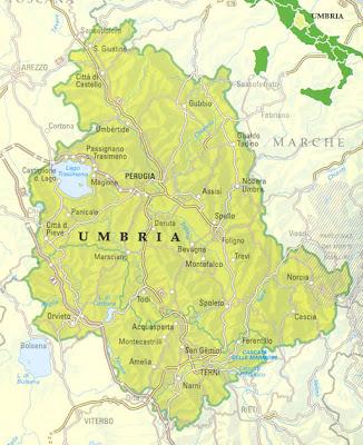 Cartina Politica della Umbria