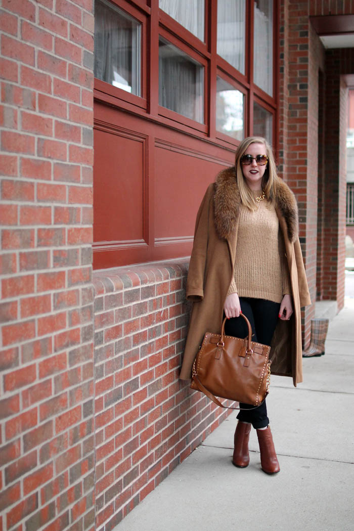 camel on camel outfit, boston style blogger, charlestown navy yard, boston blogger outfits style, fur collar camel coat,