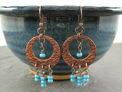 Hammered Copper & Turquoise Glass Beads Chandelier Earrings