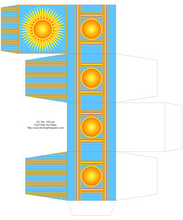 Printable gift box with a sun design