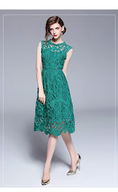 2018 Short Sleeve Turf Green Large Lace Flare Dress
