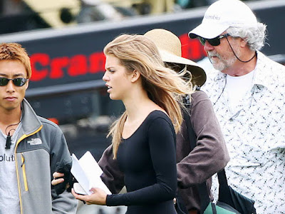 AnnaLynne McCord in black catsuit filming 90210