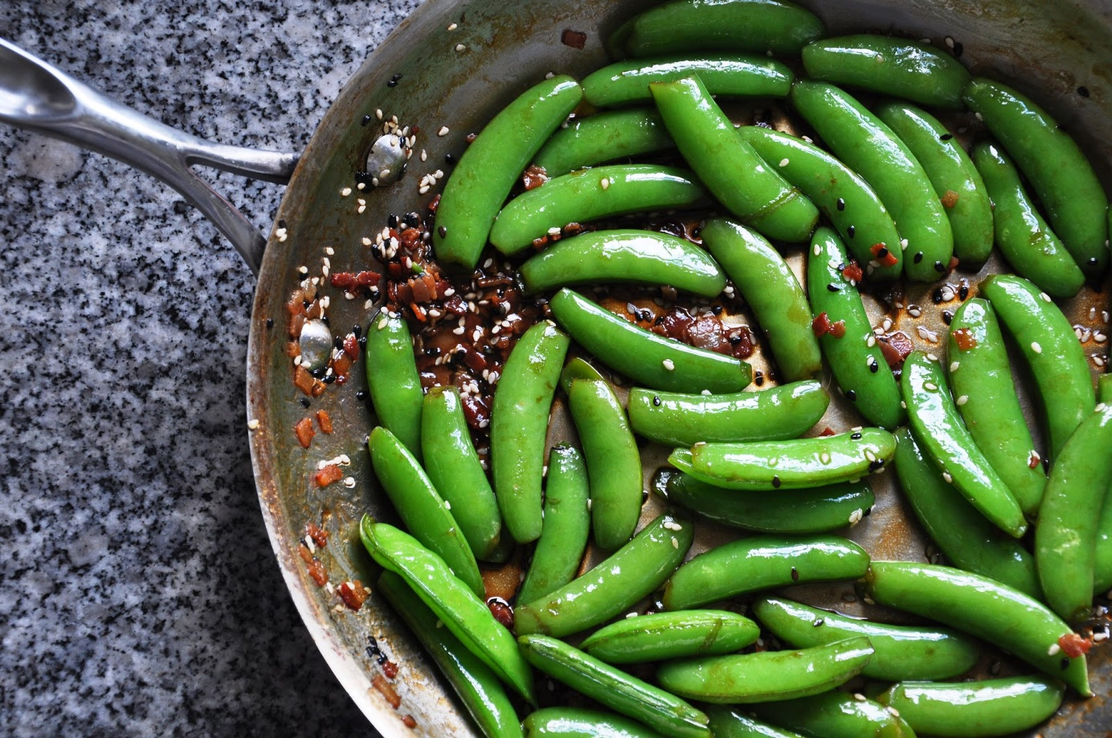 Saucy Seattleite: Sautéed Sugar Snap Peas with Bacon & Black Vinegar