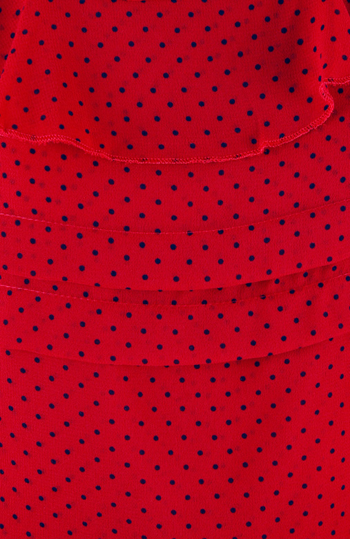 Red Dove Ruffle Spotted Long Sleeve Top