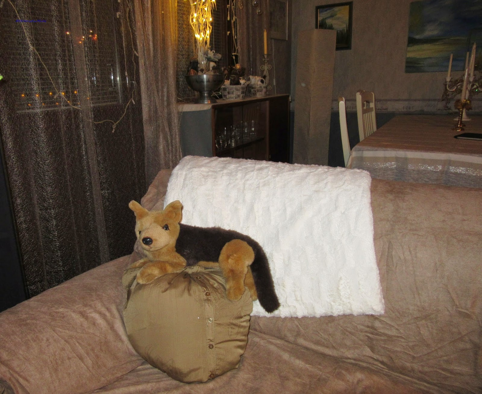 A little desperate dog on golden pillow made by old shirt without sewing