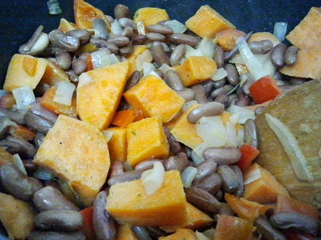 cooking yam and beans