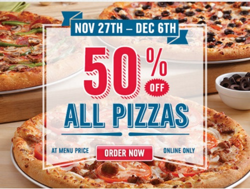 Domino's 50% Off All Pizzas Promo Code