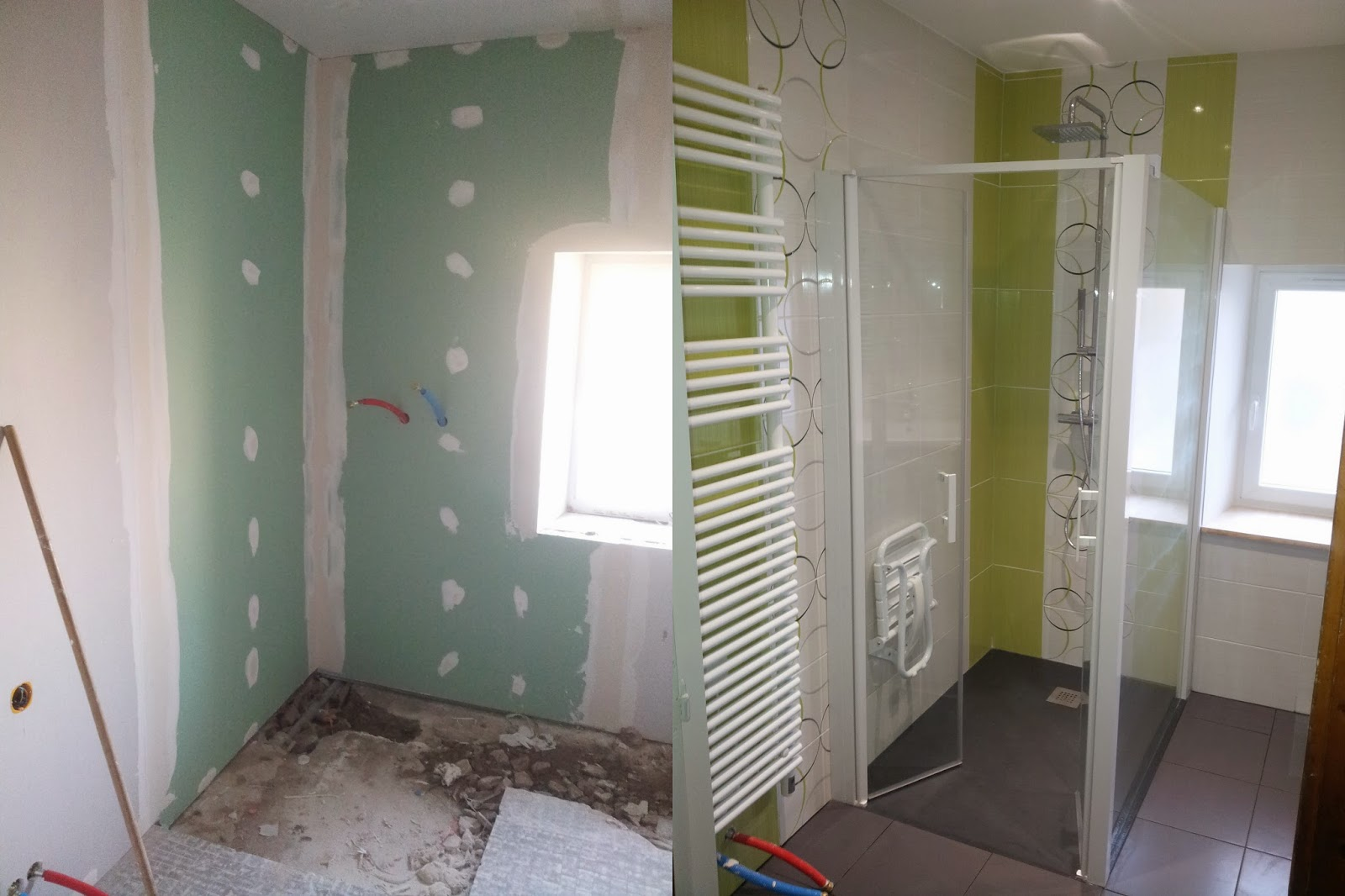 Michel le coz agencement d coration avant apr s salle for Salle de bain verte et blanche