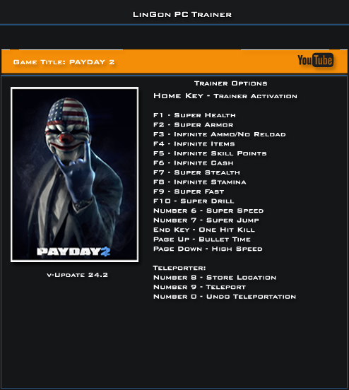 Payday 2 v24.0 Trainer +17 [LInGon]