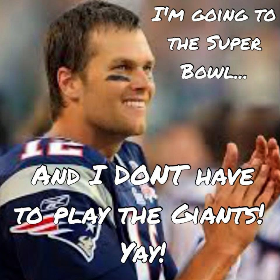I'm going to the super bowl... and I don't have to play the Giants! yay!