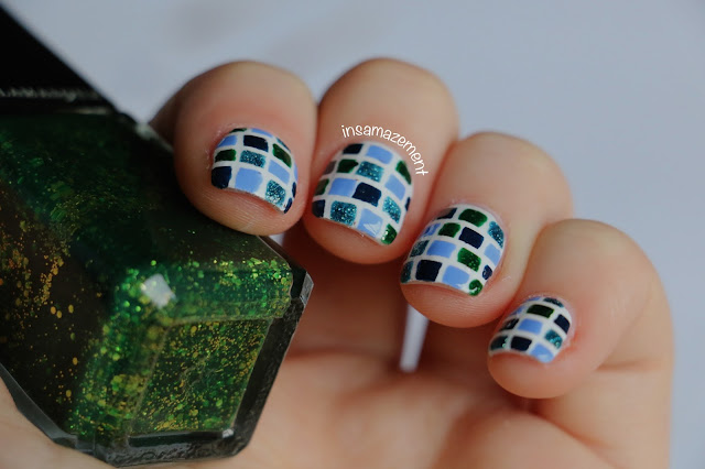 Blue & Green Tile Nail Art