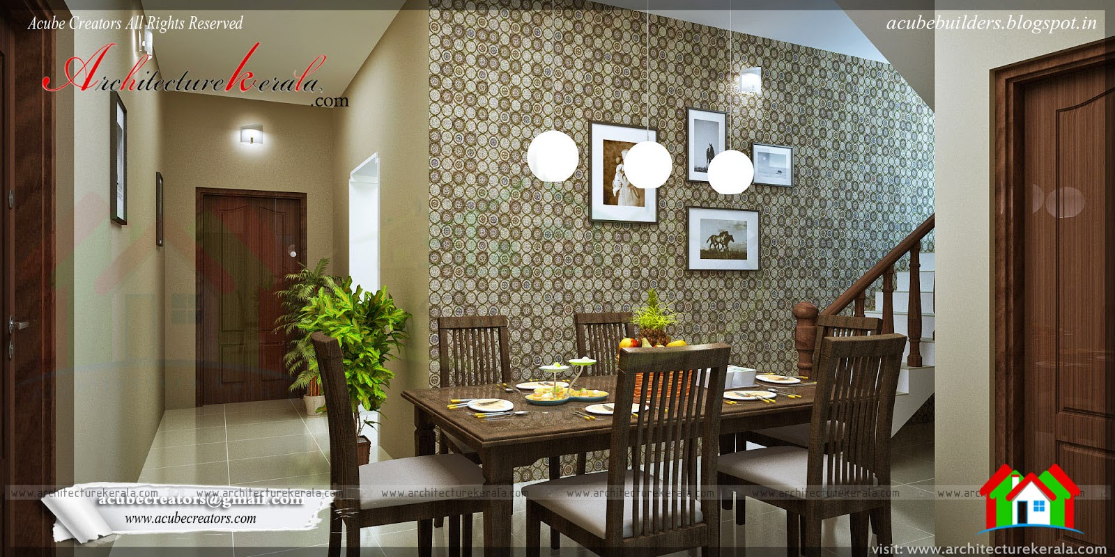 Dining room interior design architecture kerala for Hall to dining designs