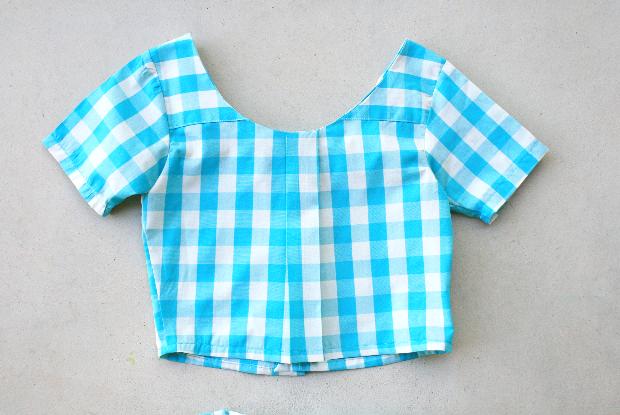 XXL men's shirt into a girls crop top + skirt