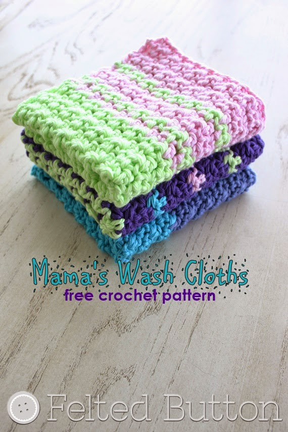 Mama's Wash Cloth (FREE crochet pattern by Susan Carlson of Felted Button))