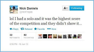 Nick Daniels Twitter about solo being cut